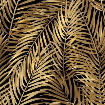 Foglie di palma oro tropicale, giungla lascia il fondo floreale del modello di vettore senza cuciture