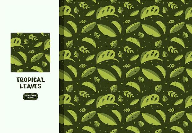 Illustrazioni del modello senza cuciture delle foglie verdi tropicali