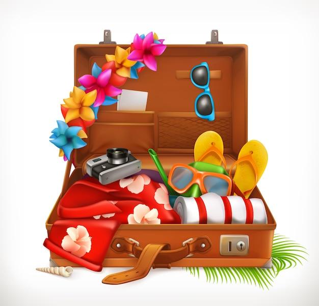 Vacanze tropicali. vacanze estive, valigia aperta. illustrazione vettoriale 3d