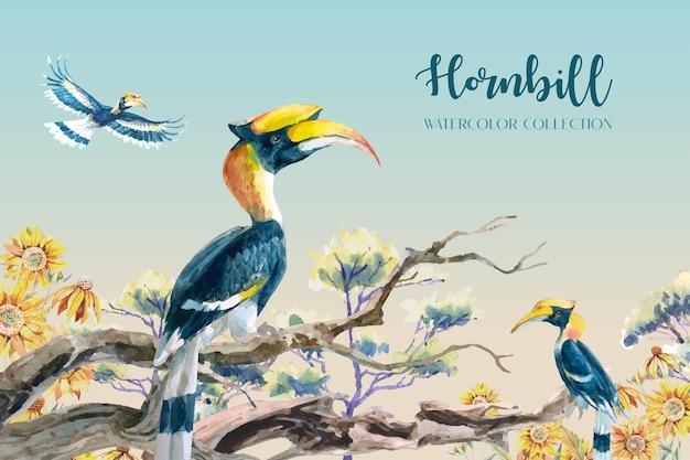 Collezione di acquerelli di bucero tropicale con rami di alberi e girasoli sullo sfondo Vettore Premium