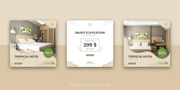 Modello di post instagram sui social media per hotel e resort tropicali