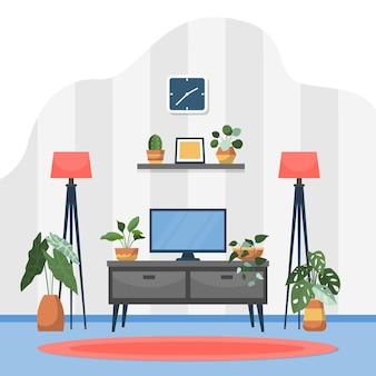 Illustrazione interna della casa della pianta decorativa verde della pianta d'appartamento tropicale