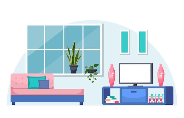 Pianta decorativa verde tropicale della pianta d'appartamento nel salone