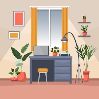 Pianta decorativa verde tropicale della pianta d'appartamento nell'illustrazione dell'area di lavoro dell'ufficio