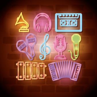 Progettazione dell'illustrazione di vettore delle etichette del neon degli strumenti tropicali