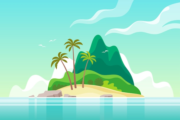 Isola tropicale con palme. vacanze estive.
