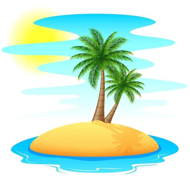 Isola tropicale con palme