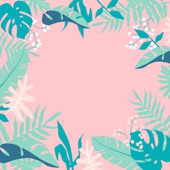 La giungla tropicale lascia il telaio su sfondo rosa
