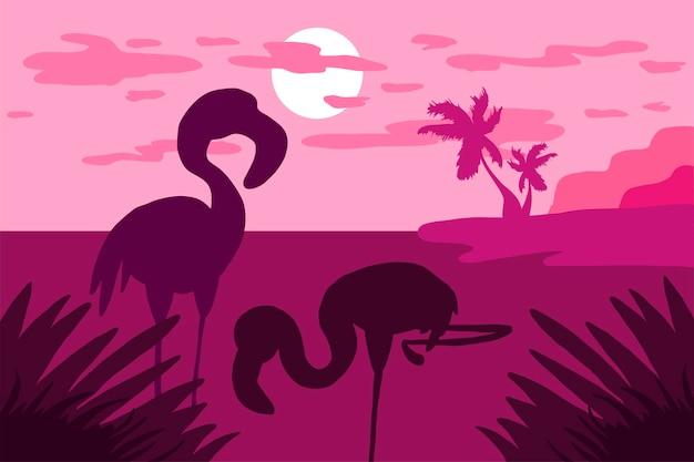 Paesaggio tropicale con fenicotteri, palme e sole. tramonto dei tropici. vettore