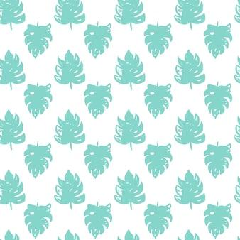 Modello senza cuciture di pennello foglia tropicale. illustrazione vettoriale di sfondo di piante estive di vernice disegnata a mano.