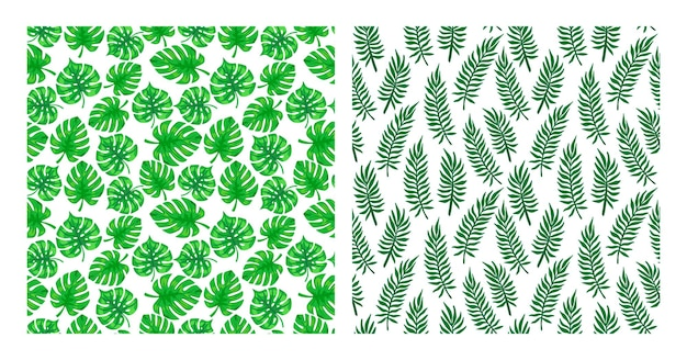 Collezione di modelli di foglie tropicali. l'insieme della palma tropicale lascia i modelli senza cuciture. fascio tropicale esotico di sfondi con fogliame di palma. illustrazione vettoriale per stampa, tessile, imballaggio.
