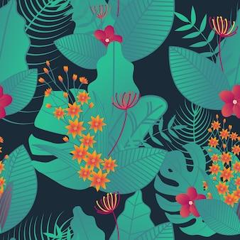Foglia tropicale senza cuciture per stampe su tessuto. carta da parati verde