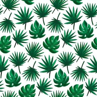 Modello senza cuciture foglia tropicale. illustrazione vettoriale di sfondo disegnato a mano della pianta di estate della vernice della spazzola.