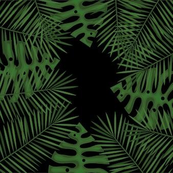 Progettazione floreale dell'illustrazione di vettore di progettazione delle foglie tropicali