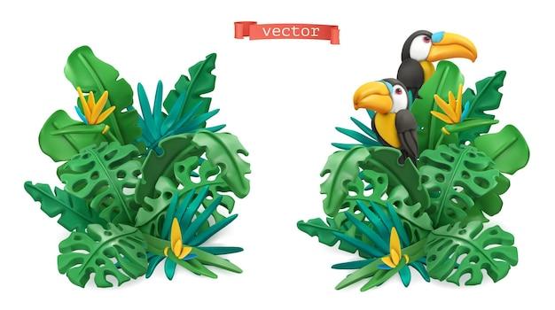 Insieme 3d delle foglie tropicali