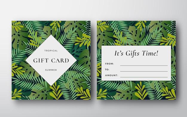 Carta regalo astratta foglie tropicali, banner o modello di invito.