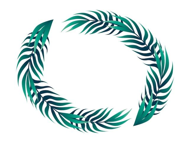 Foglie tropicali nell'illustrazione piana di vettore di concetto del telaio di disegno floreale del cerchio su fondo bianco.