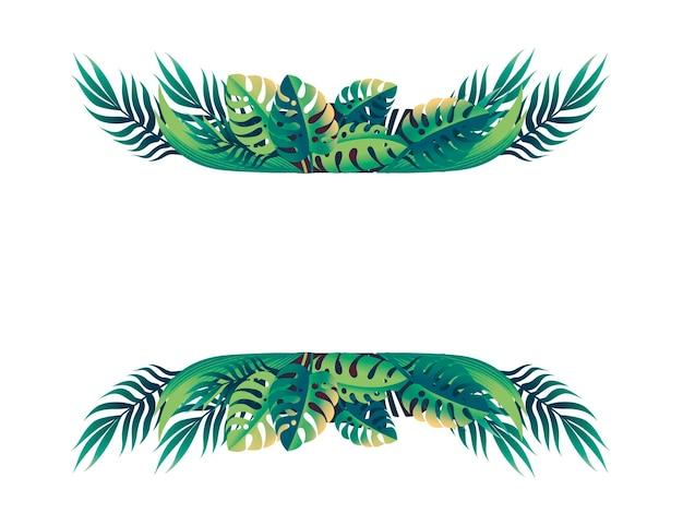 Foglie tropicali design floreale telaio concetto piatto illustrazione vettoriale su sfondo bianco.