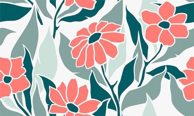 Foglie tropicali e fiori senza motivo