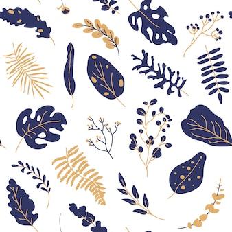 Modello senza cuciture blu scuro dell'oro tropicale delle foglie. elementi esotici floreali piatti del fumetto.