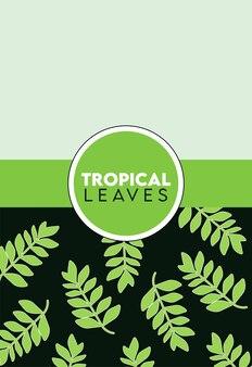 Iscrizione di foglie tropicali con foglie in cornice circolare verde