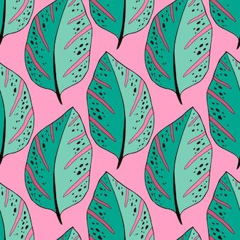 Modello di foglie tropicali nei colori verde e rosa. design tessile esotico con foglie sempreverdi. carta da regalo estiva