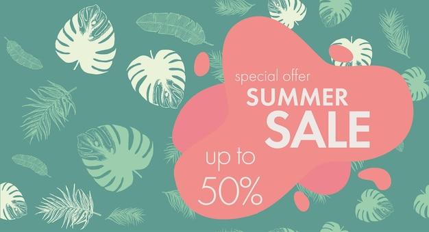 Modello di foglie tropicali illustrazione disegnata a mano di vendita estiva