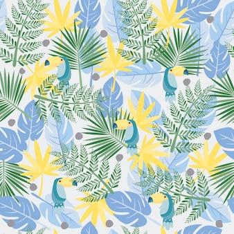 Modello di foglie tropicali Vettore Premium