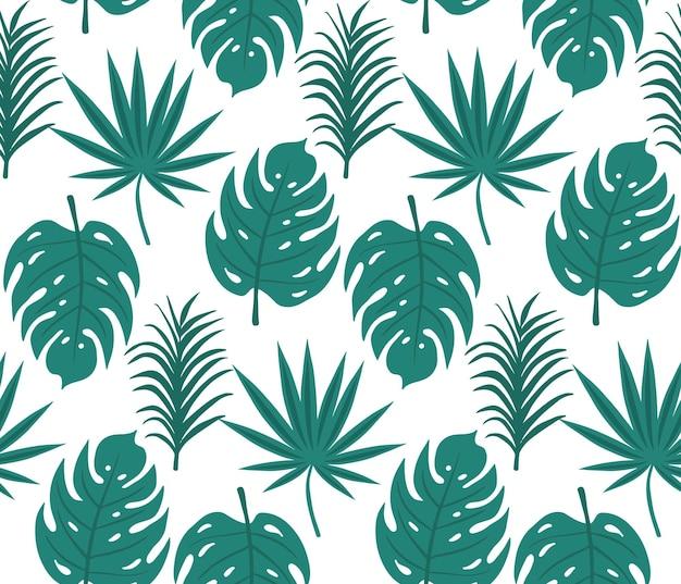 Modello senza cuciture di foglie tropicali, stampa alla moda di palme. trama ripetuta floreale, sfondo. illustrazione vettoriale.