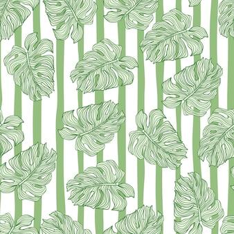 Modello senza cuciture di foglie tropicali su sfondo a strisce Vettore Premium