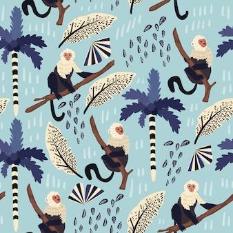 Modello senza cuciture delle foglie tropicali con la scimmia.