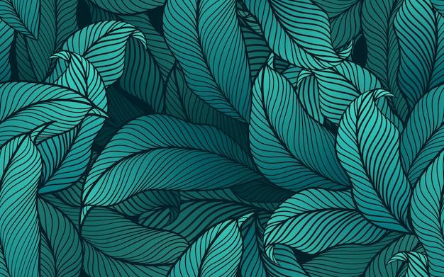 Modello senza cuciture di foglie tropicali