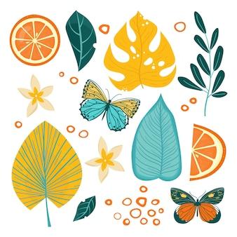 Illustrazione stabilita di foglie tropicali Vettore Premium