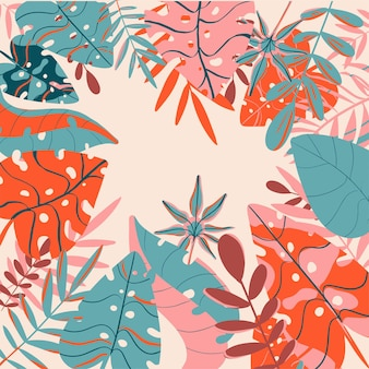 Foglie tropicali primavera ed estate fresche e brillanti colori di sfondo vettoriale alla moda
