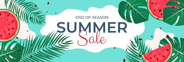 Fondo di vendita di estate delle foglie tropicali illustrazione di vettore eps10