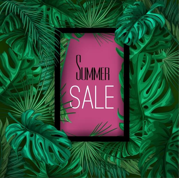 Modello del fondo del manifesto dell'insegna di vendita di estate delle foglie tropicali.