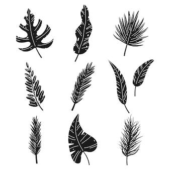 Set di sagome nere di vettore di foglie tropicali del fumetto isolato su sfondo bianco.
