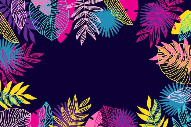 Concetto di carta da parati foglie tropicali