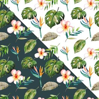 Modello senza cuciture dell'acquerello di foglie tropicali