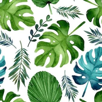 Reticolo senza giunte dell'acquerello di foglie tropicali