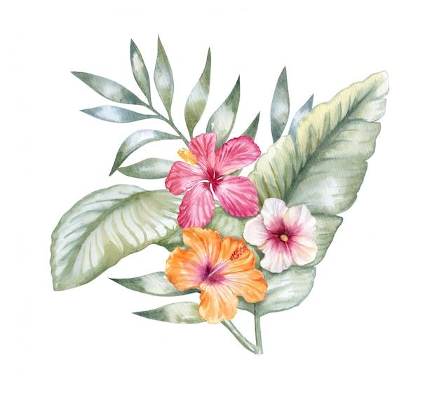 Foglie tropicali con fiori di ibisco rosa Vettore Premium