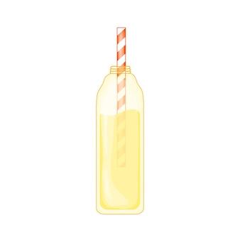 Limonata tropicale in stile cartone animato carino. beach party. illustrazione vettoriale isolato su sfondo bianco.