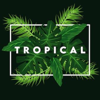 Lettering tropicale con foglie verdi in cornice quadrata