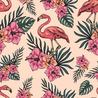 Modello senza cuciture leggero tropicale con monstera di fiori di ibisco fenicottero e foglie di palma