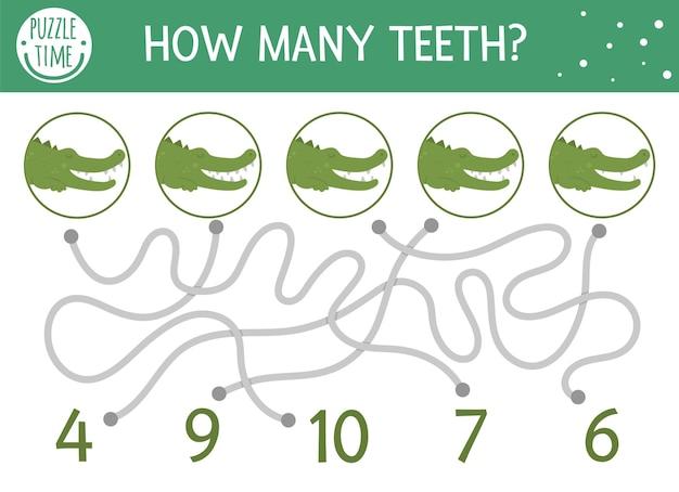 Labirinto di matematica tropicale per bambini. attività estiva prescolare. indovinello aggiuntivo educativo. divertente gioco di puzzle matematico con i coccodrilli. foglio di lavoro conteggio carino. quanti denti?