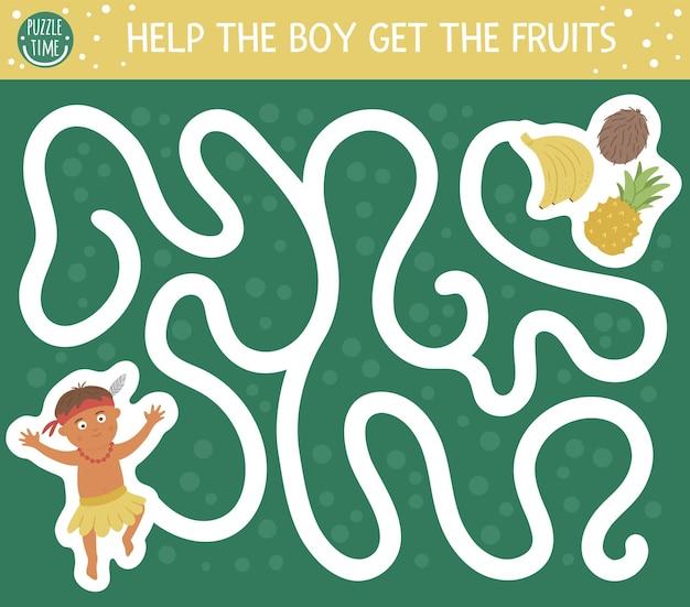 Labirinto tropicale per bambini. attività esotica prescolare. divertente puzzle della giungla. aiuta il ragazzo ad arrivare ai frutti.