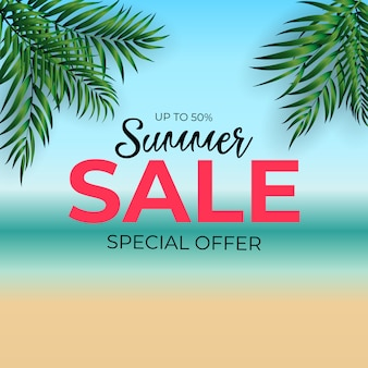 Fondo tropicale di vendita di estate della palma naturale. illustrazione