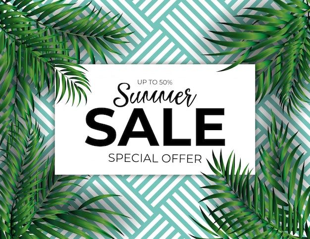 Sfondo di vendita estiva tropicale palma naturale. illustrazione vettoriale