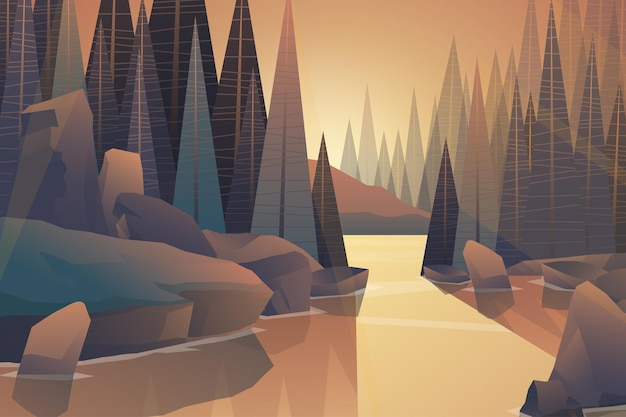 Paesaggio naturale tropicale paesaggio con fiume foresta e montagna con toni caldi, illustrazione di cartone animato Vettore Premium