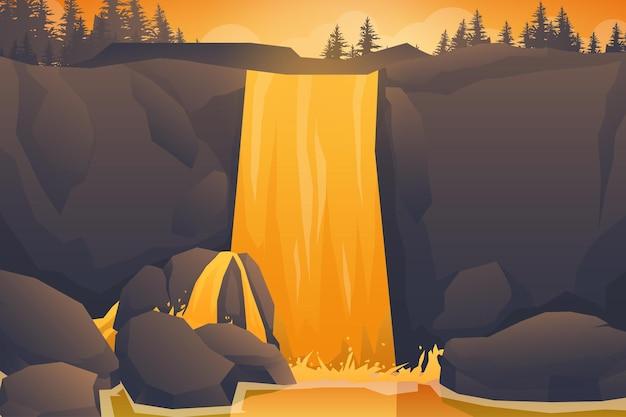 Scenario naturale tropicale con cascata di rocce, paesaggio della giungla della cascata, flussi di acqua che scorre, natura selvaggia dal tono caldo e illustrazione di sfondo del fogliame del cespuglio.